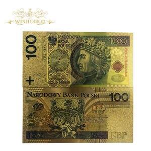1 pièces/lot belle couleur pologne billets 100 Bill PLN or billets en 24k plaqué or papier argent réplique pour la Collection