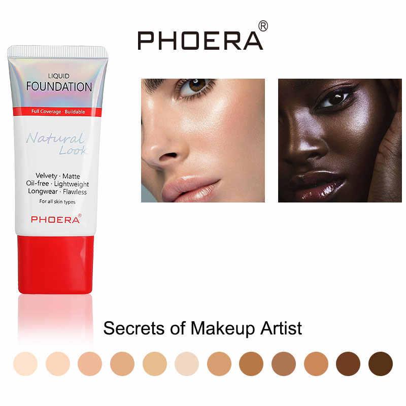 Phoera base 30ml, controle de oleosidade com toque mineral, maquiagem líquida fosca, cobertura completa de 24 horas, duração tslm1