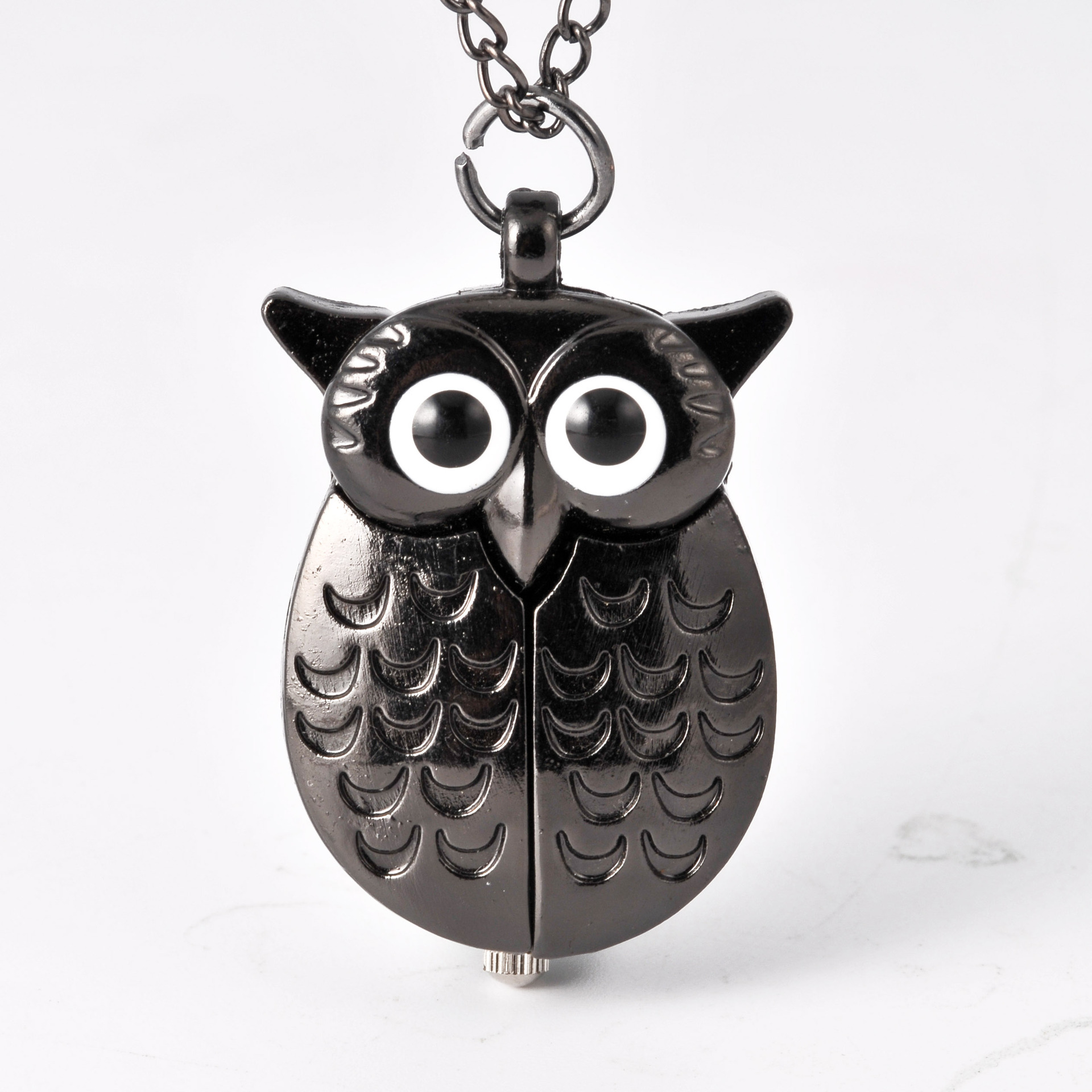 0  Vintage  Cute Owl Pocket Watch Fob Chain Necklace Pendant Flip Case Watch Hour Clock For Men Women Animals Pocket Watches