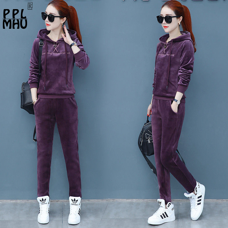 Matching Sets Autumn Plus Size Casual Loose Velvet Tracksuits 2 Pieces Set Women High Elastic Hooded Sweatshirts And Harem Pants