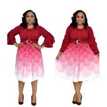 Petal Sleeve Dress African Costume Stitching Gradient Print Office Women High Quality Fashion Elegant red purple plus size