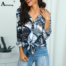 2019 Summer Women Elegant Leisure Casual Top Ladies Knot Front Long Sleeve Turn-Down Collar Shirt Party Button Loose Blouse цена 2017