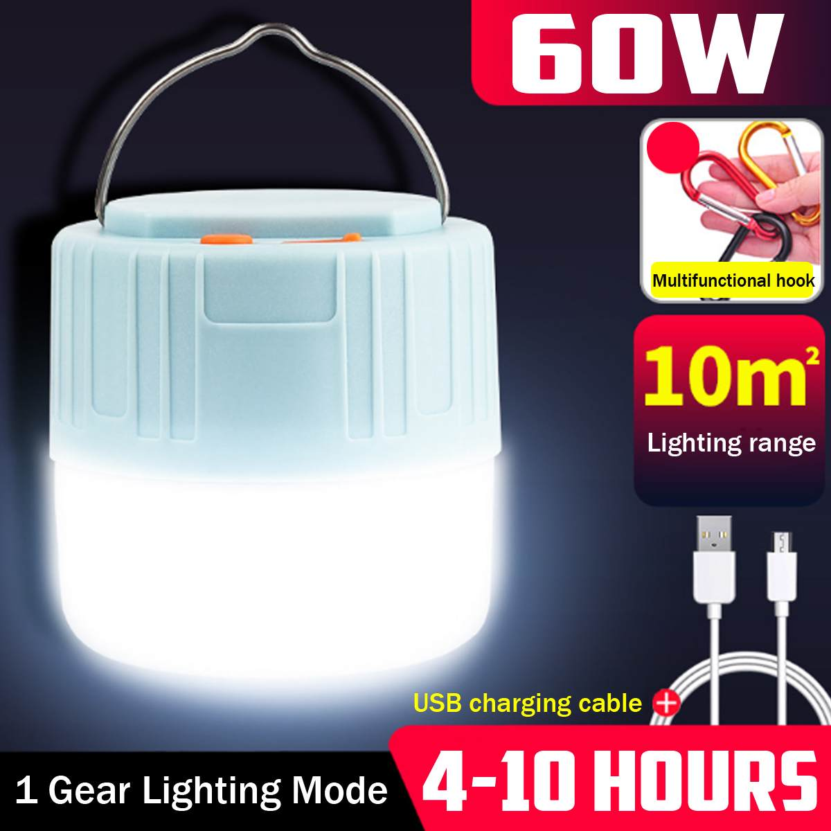 Waterproof Emergency Lights 100W 60W Solar LED Camping Light USB Rechargeable Bulb For Outdoor Tent Lamp Portable Lanterns