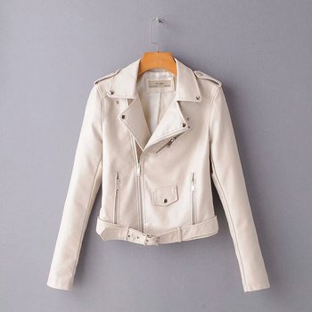 New Arrival brand Winter Autumn Motorcycle leather jackets yellow leather jacket women leather coat  slim PU jacket Leather 13