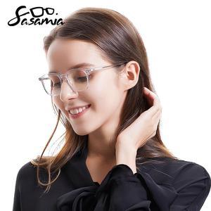 Image 2 - SASAMIA gözlük şeffaf temizle çerçeve kadın gözlük çerçevesi asetat kare gözlük beyaz gözlük kadınlar için gözlük çerçeveleri