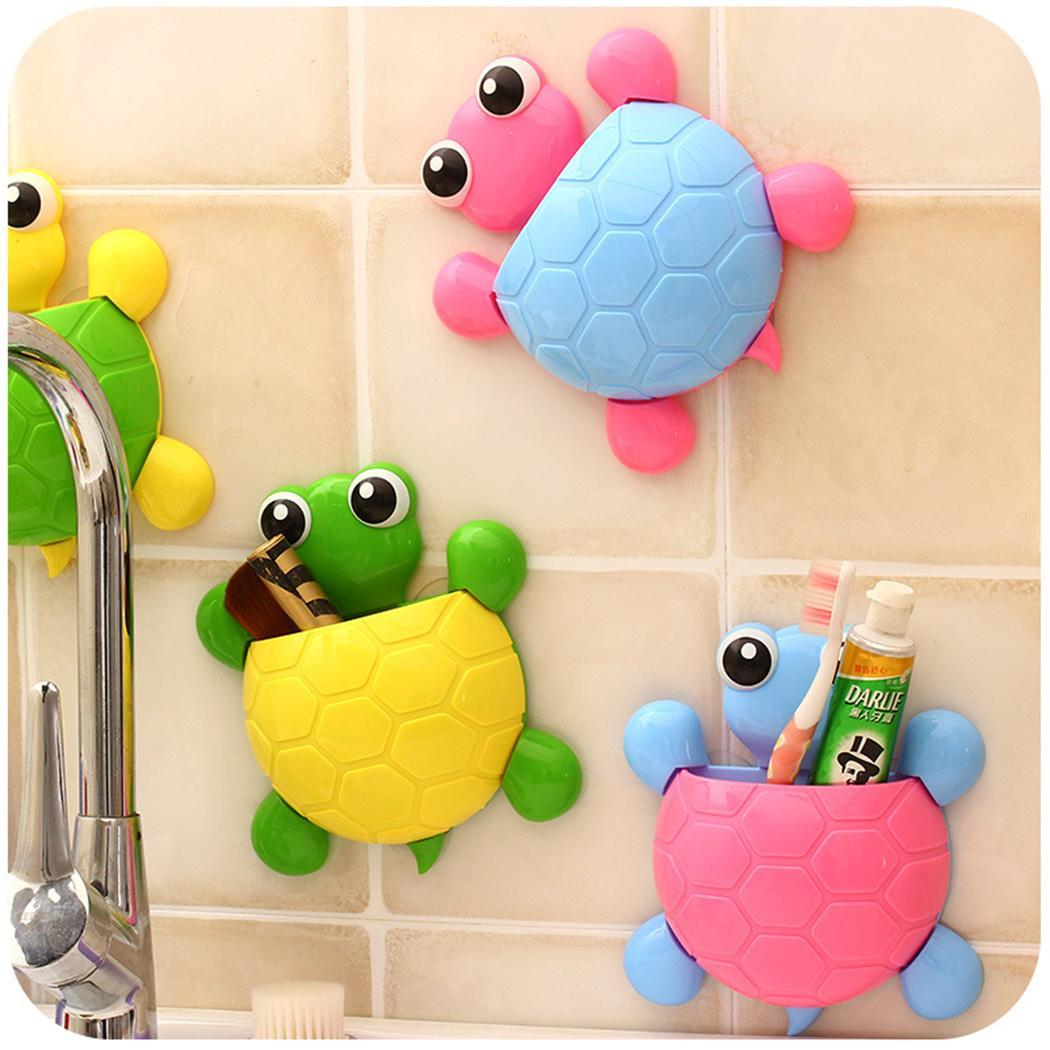 Storage Rack For Home Creative Cute PVC Turtle-shape Toothbrush Holder Strong Suction Cup Storage Rack Home Decor
