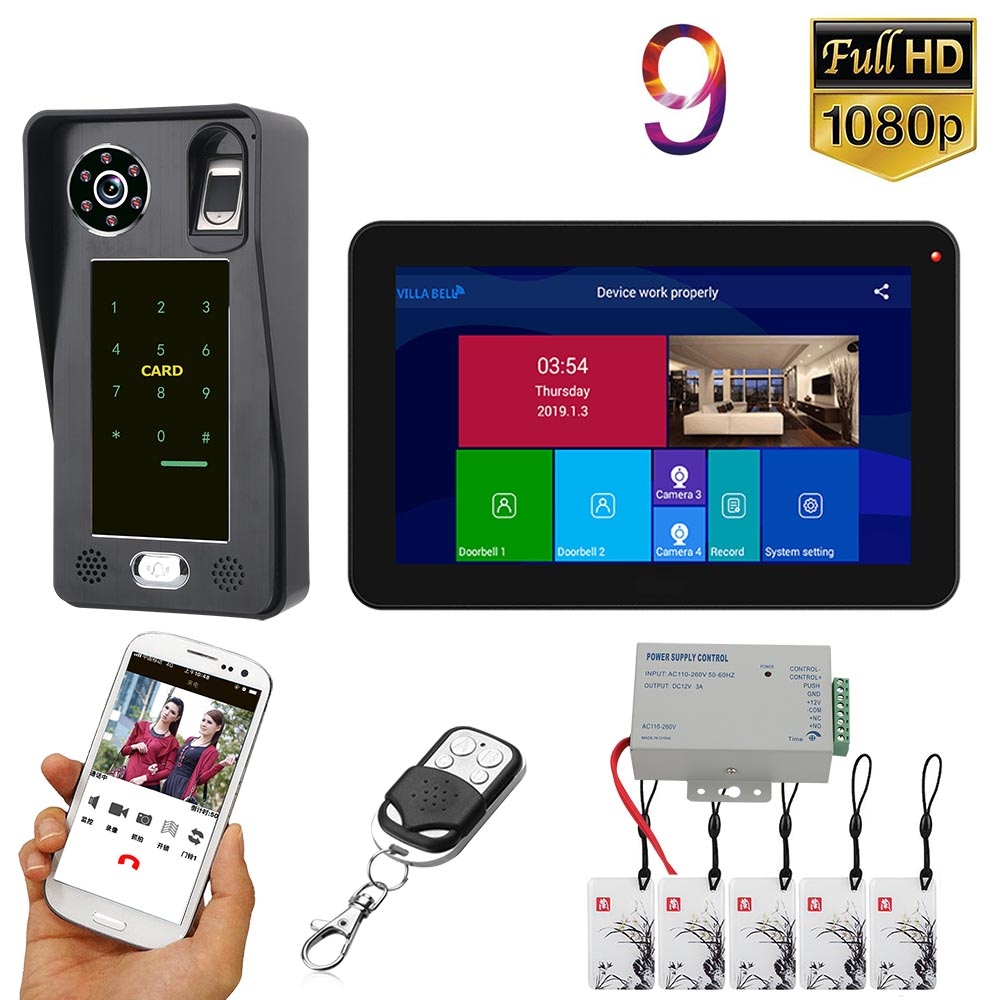 GAMWTER 9 Inch  Wifi Wireless Fingerprint IC Card  Video Door Phone Doorbell Intercom System With Wired 1080P  Camera