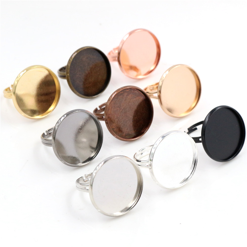 20mm 10pcs/Lot Classic 9 Colors Plated Brass Adjustable Ring Settings Blank/Base,Fit 20mm Glass Cabochons,Buttons;Ring Bezels