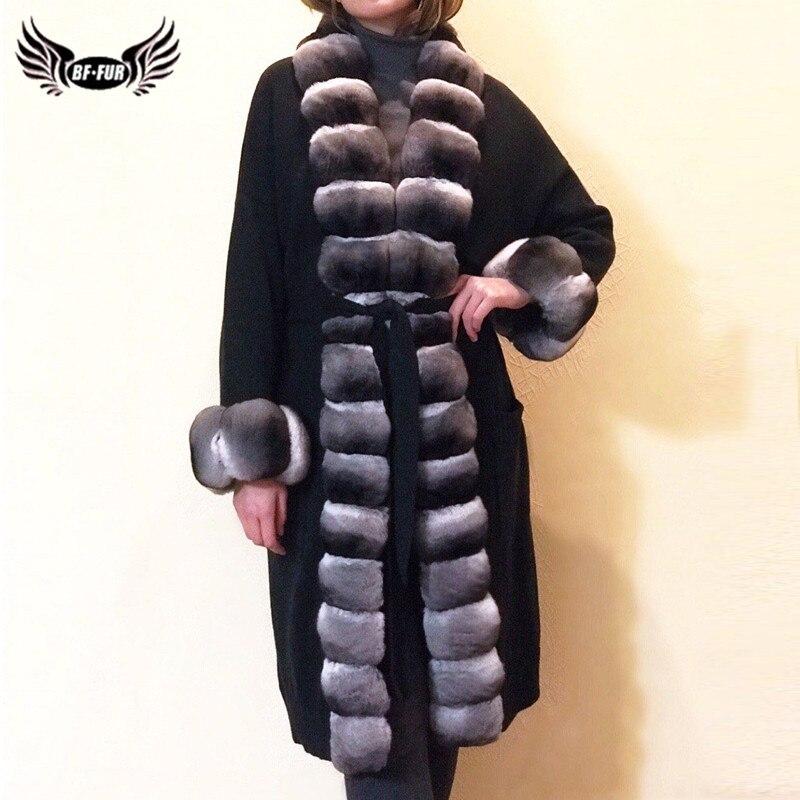 Fashion Winter Women Long Real Rex Rabbit Fur Coat With Long Chinchilla Rex Rabbit Fur Collar Genuine Fur Jacket Luxury Overcoat