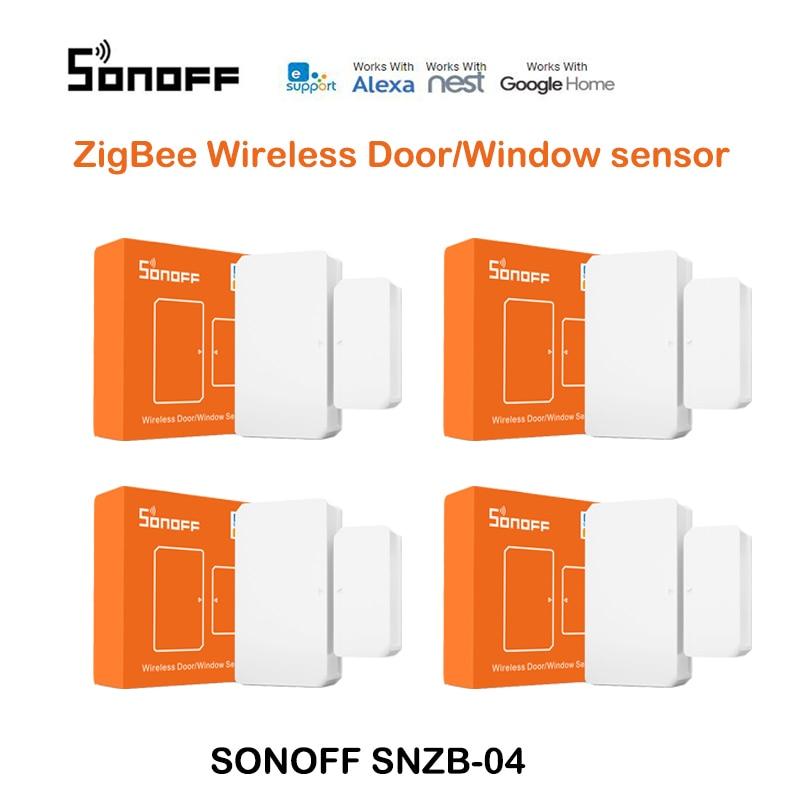 4 pces sonoff SNZB-04 inteligente janela porta ímã zigbee inteligente mini porta janela sensor precisa sonoff zbbridge controlado por ewelink app