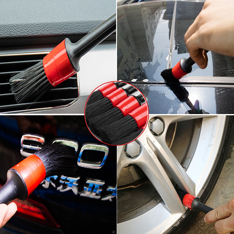 LUDUO 5Pcs Car Cleaning Brush Natural Boar Hair Handle Car Detailing Brushes Set Dashboard Rims Wheels Beauty Car Refurbish Tool