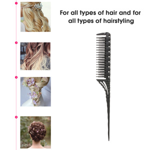 Image 4 - Hot Comb Abody Hair Brush 3 Row Teeth Teasing Comb Detangling Brush Rat Tail Comb Adding Volume Back Coming Hairdressing Combs