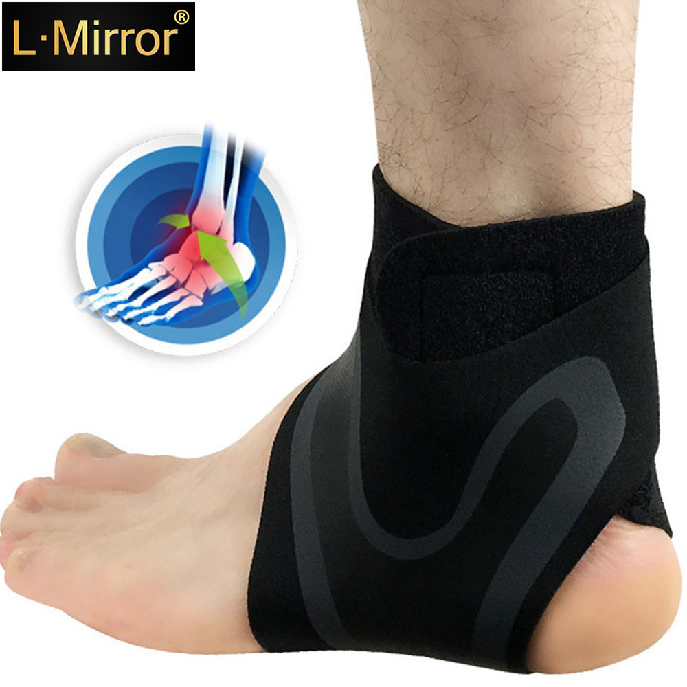 L.Mirror 1Pair Ankle Brace Compression Support Stabilizer - Adjustable Prevent Sprains Injuries Breathable Neoprene For Soccer