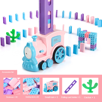 Domino edukacyjne automatycznie umieścić na mały pociąg zabawki klocki Puzzle Macarons pociąg tanie i dobre opinie 8 ~ 13 Lat 2-4 lat 5-7 lat Z tworzywa sztucznego Transport