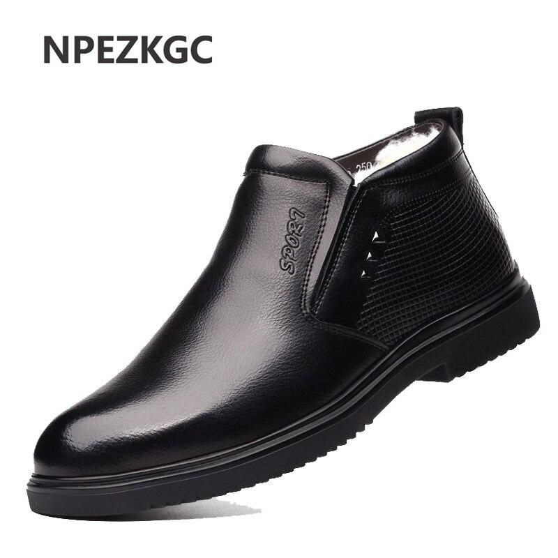 2019 nova moda homens trabalhar botas de couro frio inverno quente botas de neve dos homens sapatos de couro genuíno de lã botas de algodão calçado masculino