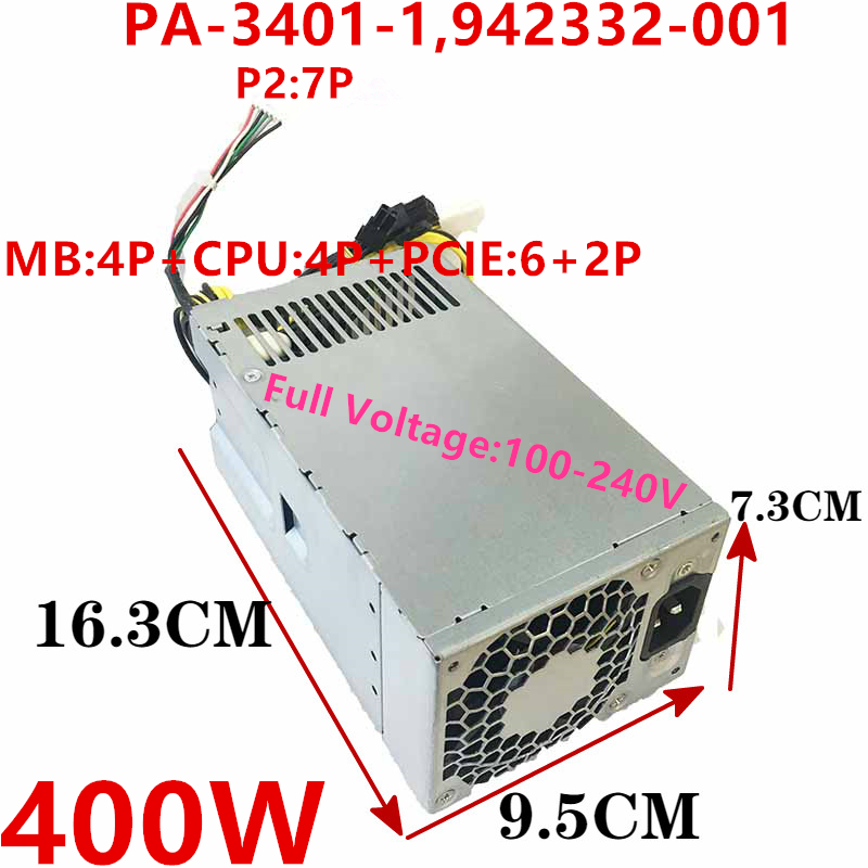 New PSU For HP 280 480 400 600 800G3 G4 G5 400W Power Supply PA-3401-1HA 942332-001 PA-3401-1