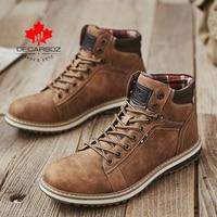 DECARSDZ Men Boots Lace-up Leather Shoes Popular Comfy Autumn Men Shoes Men Casual Boots Fashion Men's Boots Hiking Botas Hombre 1