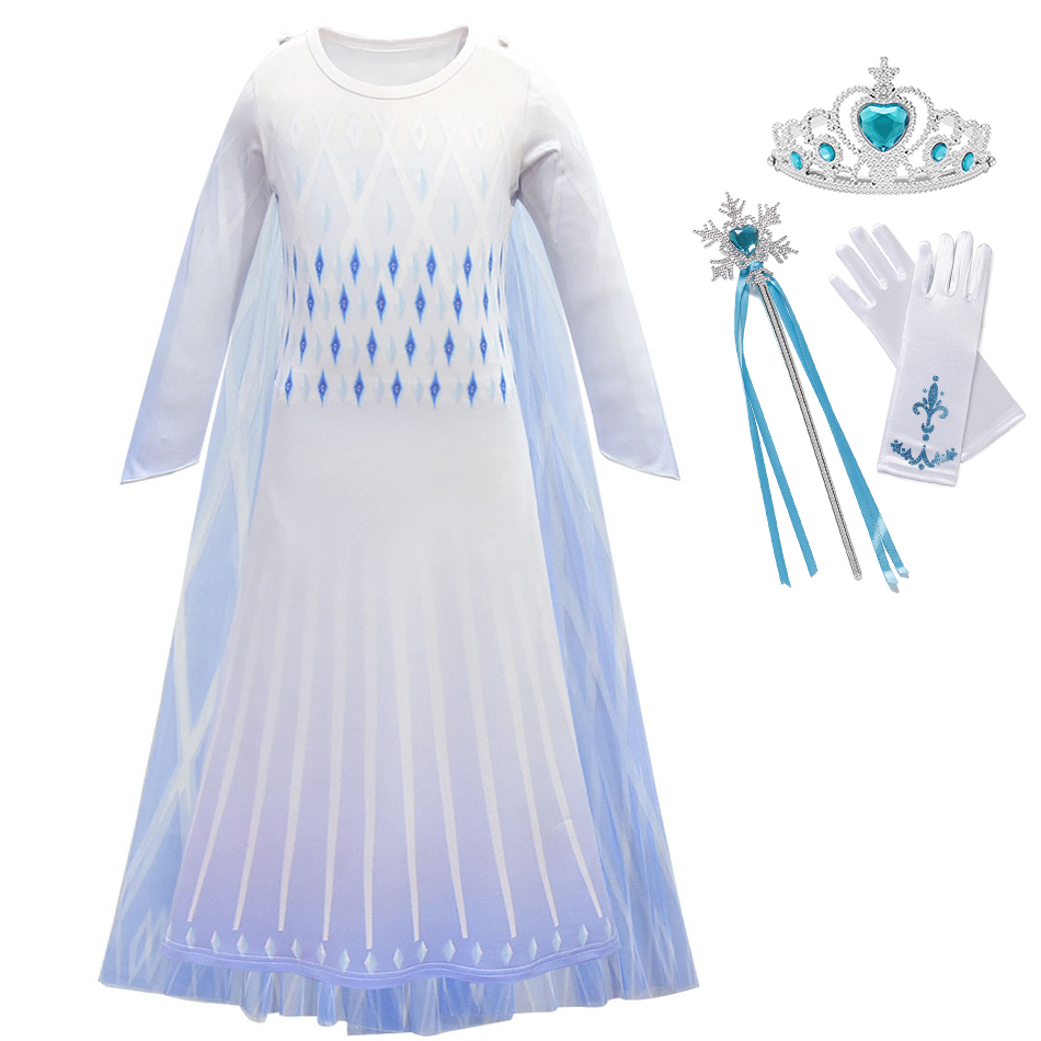 YOFEEL Snow Queen Girls Anna Elsa 2 White Dress Christmas Costume Children Party Gowns Kids Cosplay Elza Princess Dress Vestido