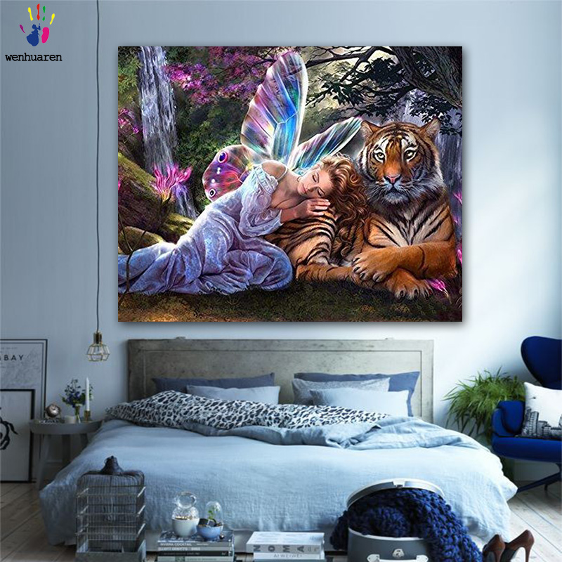 DIY Colorings Pictures By Numbers With Colors Tigers And Girls Picture Drawing Painting By Numbers Framed Home