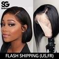 Pelucas de cabello humano con frente de encaje completo peluca corta Natural Afro ondulado Bob recta HD para mujeres negras pelo Remy largo brasileño Pre desplumado
