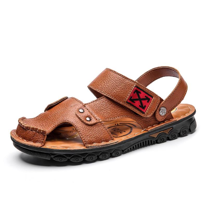 2020 Leather Sandals Men Summer Comfortable Men Shoes Big Size  Leisure Beach Men's Sandals High Quality Sandals Slippers