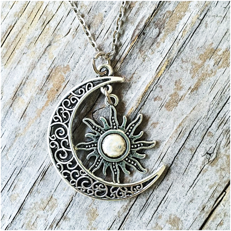 Vintage Moon Sun Pendant Necklace For Women Men Fashion Choker Wicca Witchcraft Jewelry Long Cross Chain Punk Goth Accessories