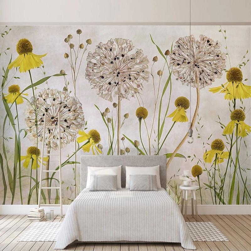 Custom 3D Wallpaper Murals Pastoral Hand Painted Sunflower Dandelion Flower Children Room Bedroom Decoration Photo Wall Mural