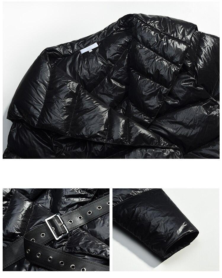 [EAM] 2019 осень зима женские новые черные длинные рукава большой отложной воротник Регулируемая Талия толстые неровные пуховики LE871 - 5