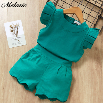 Melario print Kids Girls Clothing Sets Dot Summer Baby Girls Clothes Sleeveless T-Shirt Shorts Suit 2Pcs Children Clothes Suits 6
