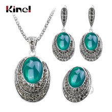 Kinel Fashion Oval Red Jewelry Sets For Women Ancient Silver Color Retro Necklaces Rings And Earrings Crystal Gift 2017 New(China)