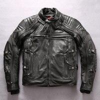 Factory 2019 New Men Black Genuine Motorcycle Leather Jacket Fashion Super thick cowhide 4 piece Liner Detachable Biker Jackets