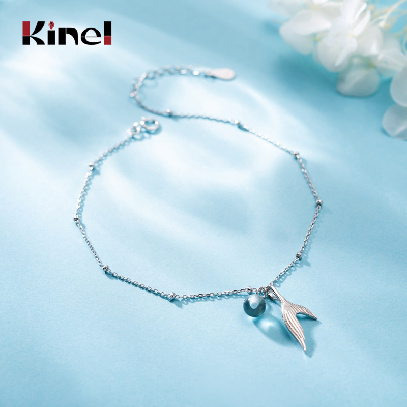 Kinel Hot Sale Beach Anklet 925 Sterling Silver Ladies Mermaid tail Pendant Foot Chain Bracelet Women Fashion Anklets Jewelr
