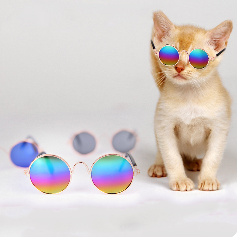 1pcs Colorful Cat Dog Glasses For Pug Yorkie Chihuahua Kitten Eye-wear Protection Sunglasses Photos Props Pet Toy Accessoires