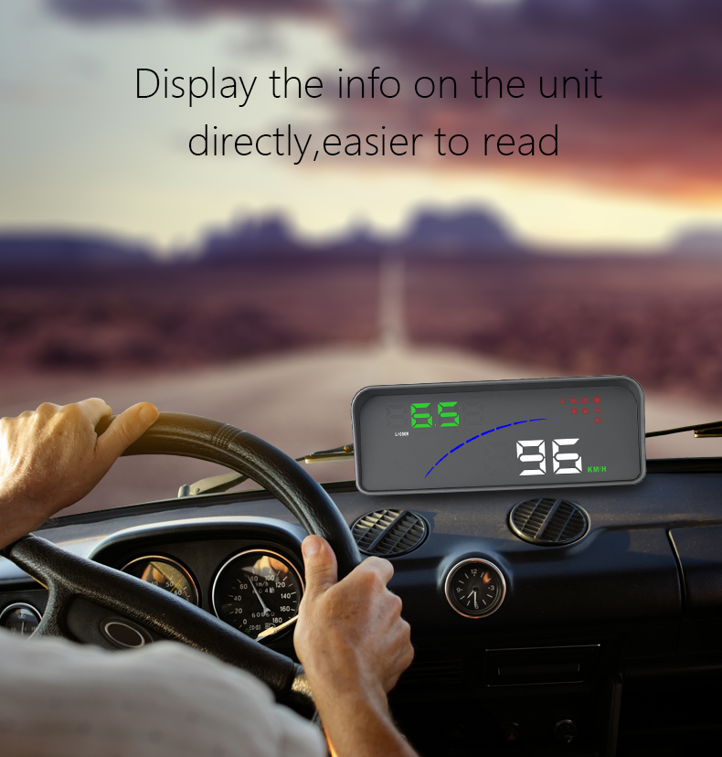 Car HUD OBD2 II Auto Head Up Display Speed Alarm Warning Smart Digital Meter