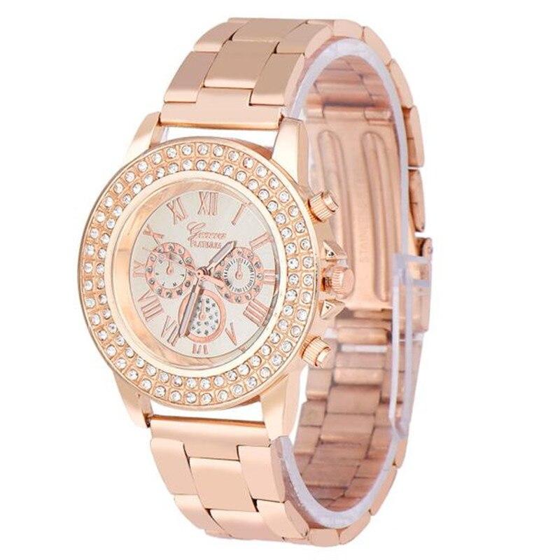 NO.2 Watches Women Men Diamond Three Eyes Metal Band Analog Quartz Fashion Wrist Watch Watches Clock Hour Relogio Masculino