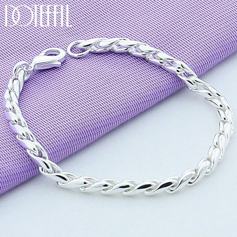 DOTEFFIL 925 Sterling Silver Bracelets Snake Chain Screw Fits European Silver Charms 20CM DIY Fashion Jewelry Women Gift
