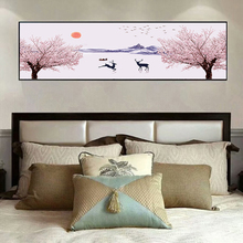 Yuke Art Modern Abstract Pink Trees Elk Canvas Painting Wall Nordic Print Scandinavian Decoration Picture For Living Room