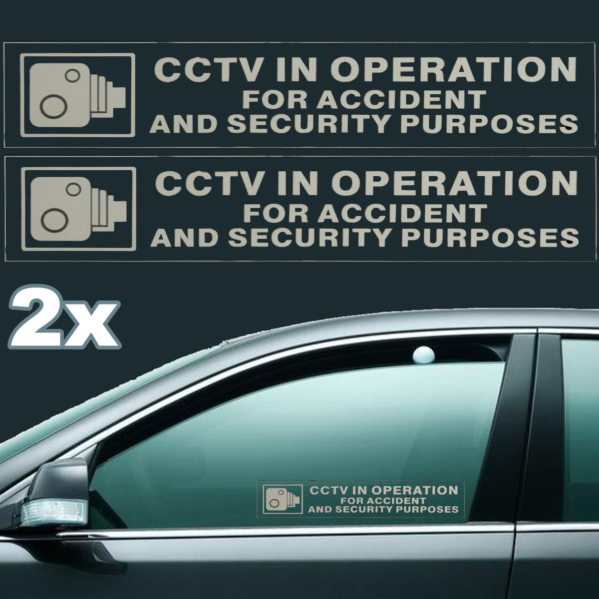2pcs CCTV In Operation For Accident Security Purposes Self-adhensive Stickers Car Van Bus 198mmx40mm