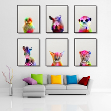 trazos nordic colour Art Canvas Pictures Dazzle Colour Animals Rabbit Tiger Lion Posters Nordic Modern Style For Living Room Decor Painting Unframed