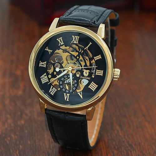 3 Color Men's Fashion Roman Numerals Mechanical Skeleton Hollow Dial Wrist Watch Gift Reloj Mujer Reloj Hombre Zegarek Damski