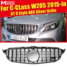 For Mercedes C Class W205 C205 Sport Coupe C63 Front Grille Grill Grills GTS Look ABS Silver Add on Style without Camera 2015-18