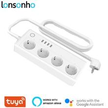 Lonsonho Tuya متعددة واي فاي الذكية قطاع الطاقة تمديد المقبس USB الاتحاد الأوروبي المملكة المتحدة الولايات المتحدة التوصيل 16A أتمتة المنزل يعمل مع أليكسا جوجل المنزل