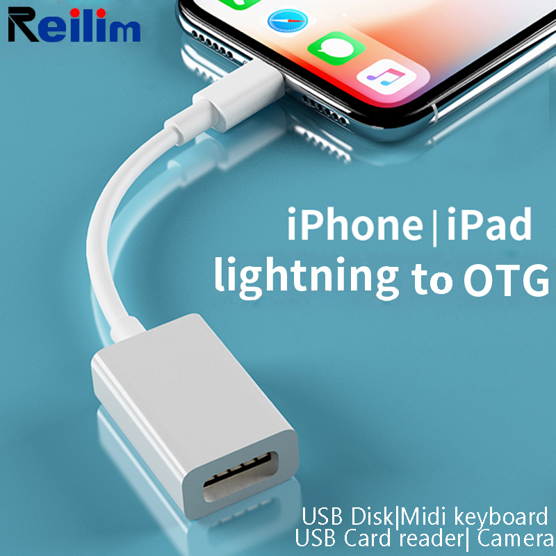 OTG Adapter For Lightning To USB Adapter For IPhone 7 8 X Camera Connection Kit Converter For IPad IOS 12 13 Connect MIDI Piano