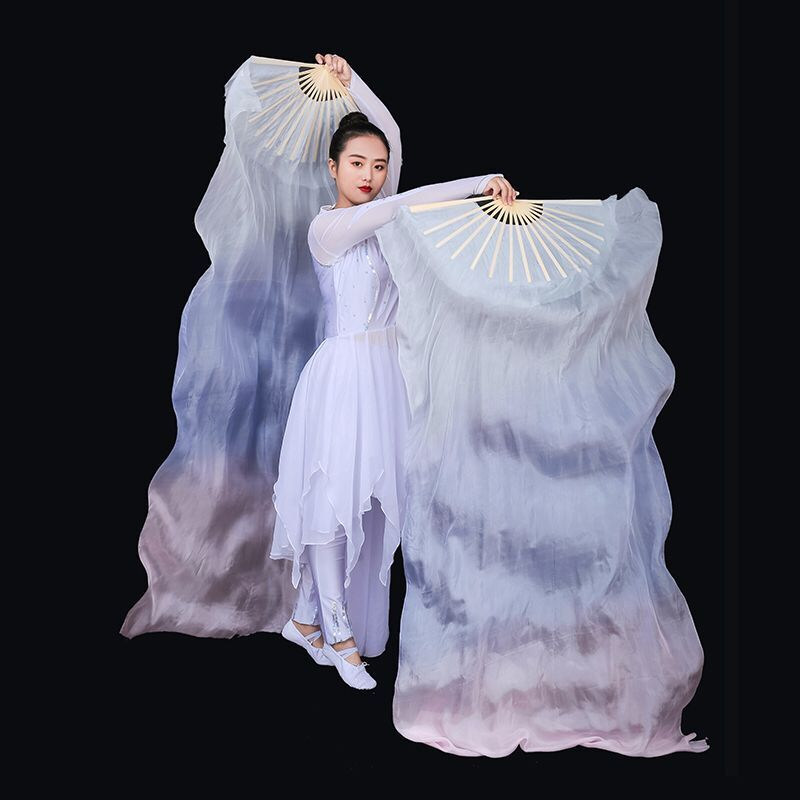 Image 4 - New Arrivals Women Belly Dance Fan Veil Hand Made White Navy Blue Gradient Silk Veil Pairs 180x90cm Girls Women Stage Show PropsBelly Dancing   -