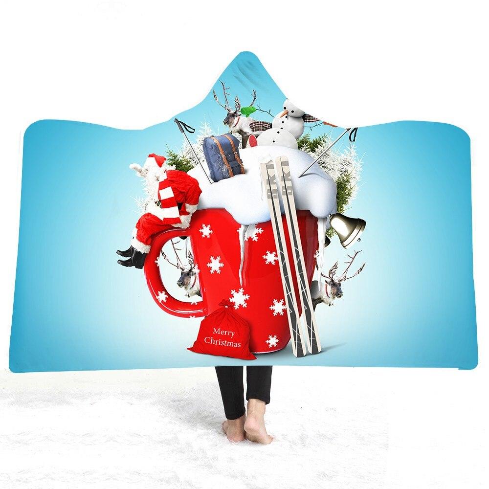 Vrolijk Kerstfeest Decoratie Blauw Deken Kids Gift Volwassen Wearable Throw Home Sofa Deken Sherpa Fleece Draagbare Grote Deken
