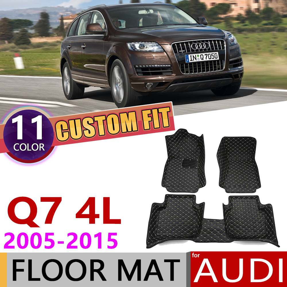 Custom Car Leather Floor Mats For Audi Q7 4L 2005~2015 5 Seats Foot Pad Carpet Accessories 2006 2007 2010 2011 2012 2013 2014