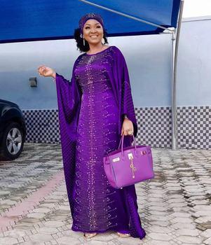 African Women Heavy Handwork Crystal Beads Silk Satin O Neck Big Batwing Sleeve Evening Dress Long With Headscarf Sukienka Długa
