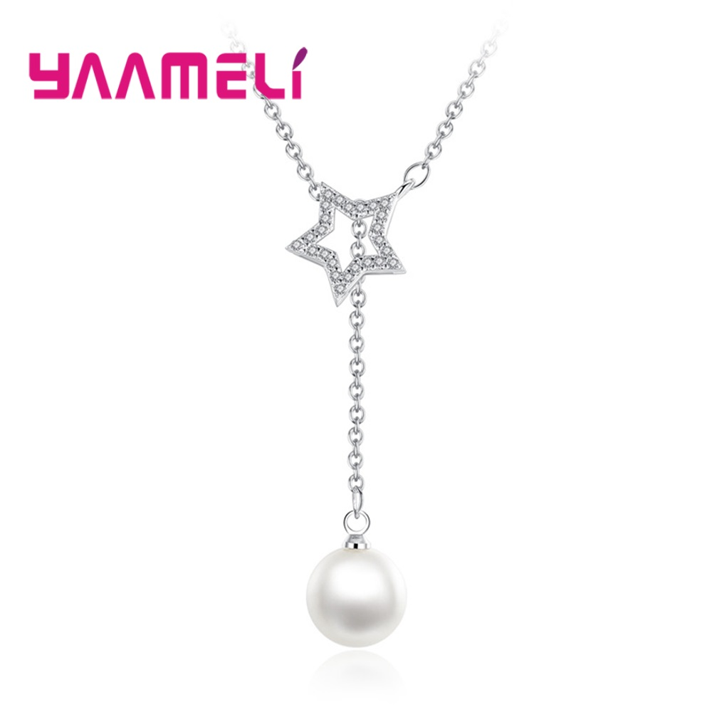 Unique 925 Sterling Silver Pearl Necklace Sparkling Austria Crystal Paved Star Long Drop Charm Choker for Women Fine Jewelry