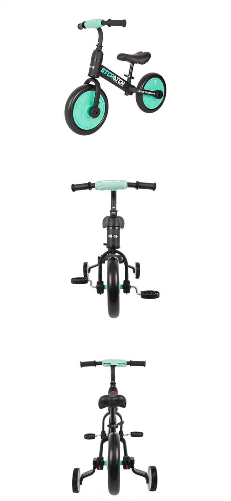 H875b4ca0bdee4a91b2ced402eeddf6e2C Multifunction 2 in 1 Kids Tricycle + Balance Bike Bicycle For 2~6 Ages Child Toddler Complete Cycling Bike Learn to Ride