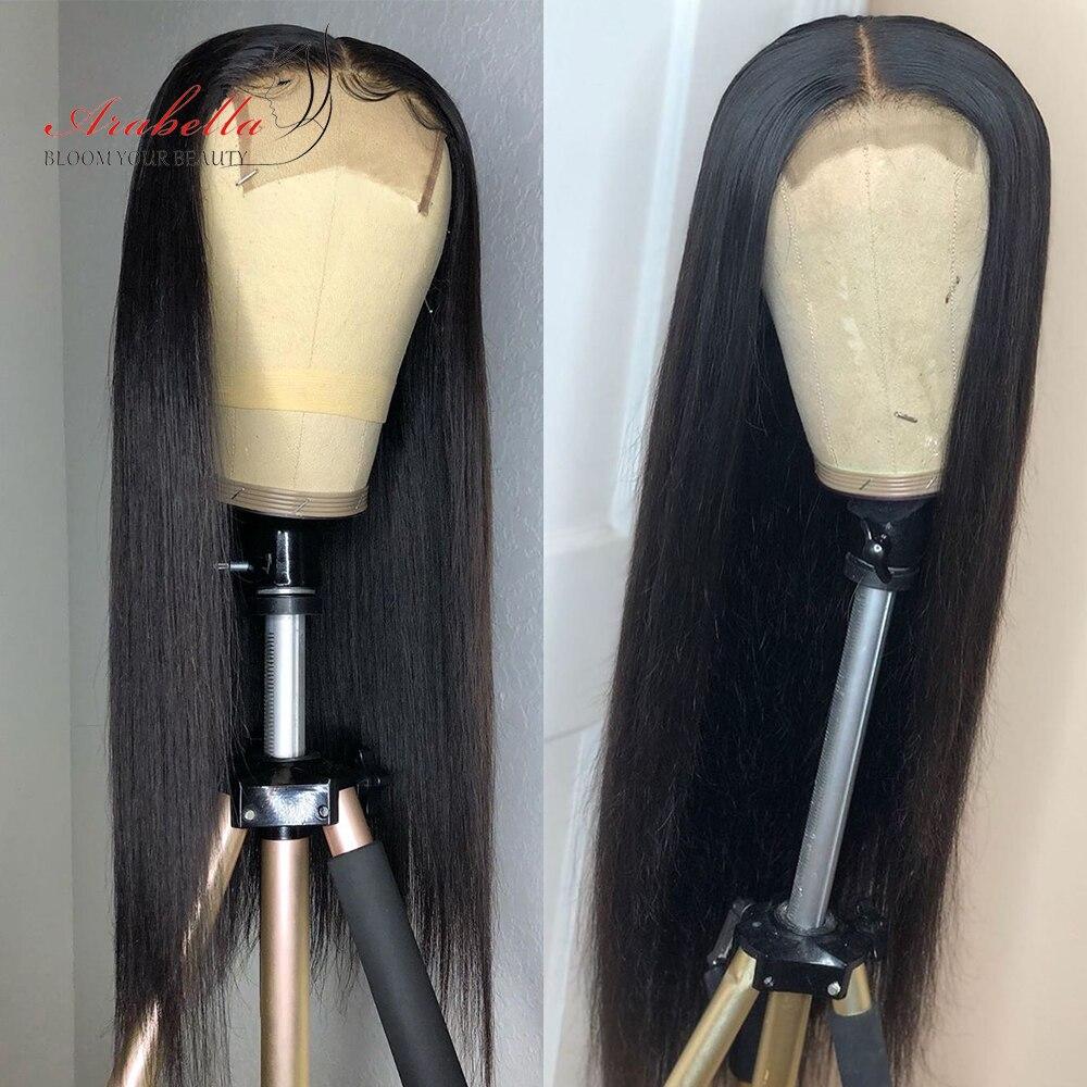 Fermeture perruque droite 210% densité cheveux brésiliens 4*4 dentelle fermeture perruque Arabella naturel Remy cheveux préplumés 100% perruques de cheveux humains